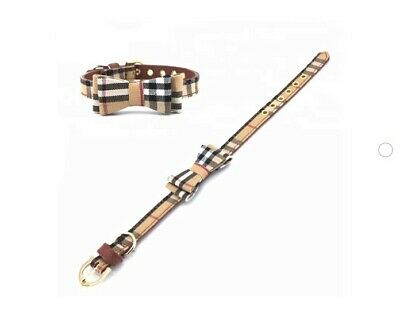 Plaid Dog Cat Collar - Pet Bowtie Pu Leather Adjustable Gold Buckle Leash 3