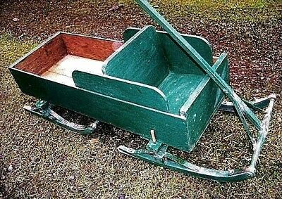 Antique Bob Sled Wagon Childs Wood Sleigh Rustic Pine Iron Porch Display Cart 2