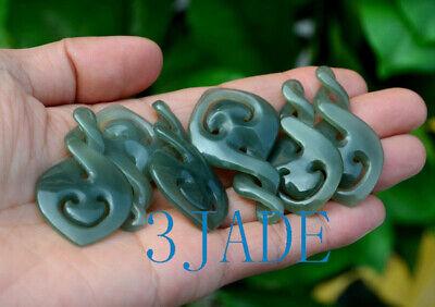 Natural Nephrite Jade Double Twist Pendant Necklace New Zealand Maori Design