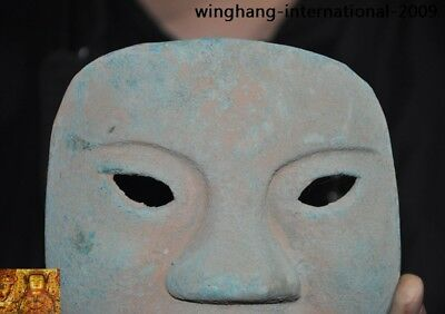 Rare China Ancient dynasty Bronze Ware Sacrifice Ritual people head mask statue 2