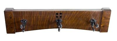 Arts and Crafts 18 Inch 3 Cast Iron Hook Coat Rack 5