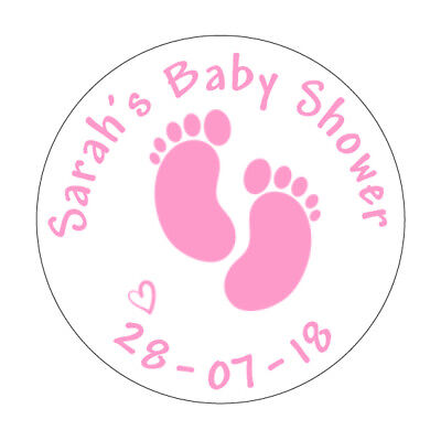 24 Personalised Baby Shower Footprint Stickers Pink Blue Silver Grey Thank You 2