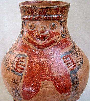 Pre-Columbian NICOYA-GUANACASTE POLYCHROME EFFIGY PYRIFORM VASE, 800 - 1200 AD
