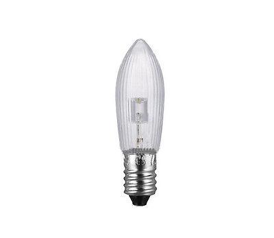 10Stk LED 0,2W E10 10-55V Topkerzen Riffelkerzen Spitzkerzen Ersatz Lichterkette 5