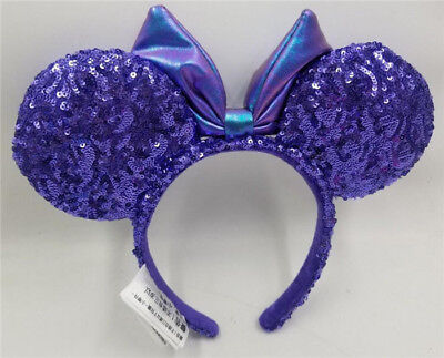 NEW Disney Parks Disneyland Purple Potion Sequins Minnie Ears Headband Kids Gift