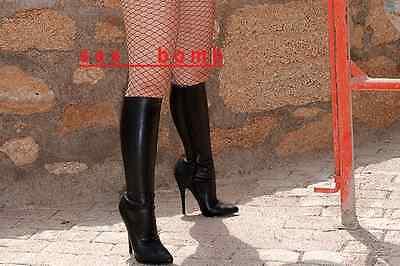 SEXY stivali domina tacco Spillo 15 dal 36 a 46 NERO opaco zip fashion GLAMOUR !