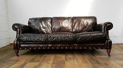 PAIR of VICTORIAN STYLE CIGAR BROWN STUD LEATHER CHESTERFIELD 3 SEATER SOFAS 12