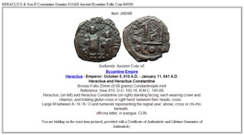 HERACLIUS & Son H Constantine Genuine 610AD Ancient Byzantine Follis Coin i66096 3