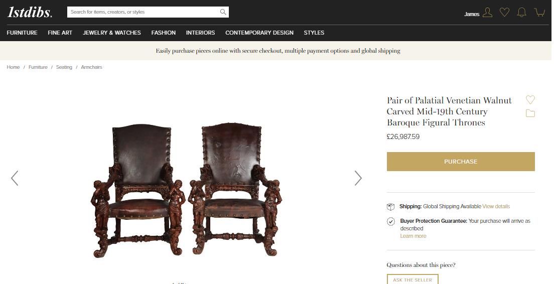 1850 Palatial Venetian Carved Walnut Leather Bench Valentino Panciera Besarel 2