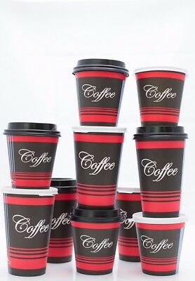 50 Pack 10 Oz. Poly Paper Disposable Hot Tea Coffee Cups with Dome Black Lids 8