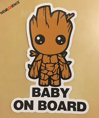 Baby GROOT on board 100x145mm Guardians of the Galaxy vinyl DECAL STICKER BUMPER 2