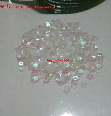 HOT DIY 2000 pcs Oval Round Cup Sequins Paillettes Loose AB 6mm Wedding Craft 5