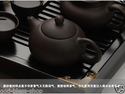 Chinese kung fu tea set purple clay tea pot gaiwan mini cup solid wood tea tray 9