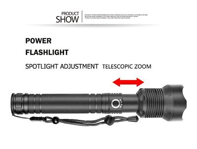 900000 Lumens Zoomable XHP70 LED USB Rechargeable Flashlight Torch Super Bright 4