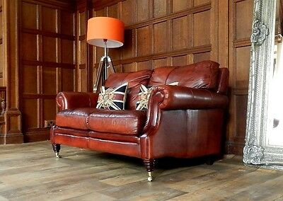 VICTORIAN STYLE CHESTNUT ANTIQUE TAN BROWN LEATHER 2 SEATER CLUB SOFA 2 of PAIR 2