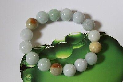 Certified Natural Jade Grade A Light Green Yellow Jadeite Bracelet 13mm #Br175 6