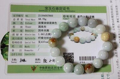 Certified Natural Jade Grade A Light Green Yellow Jadeite Bracelet 13mm #Br175 10