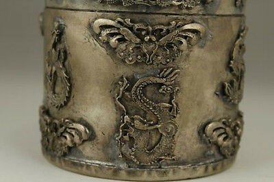 Chinese Old Tibet Silver Handwork Inlay Jade Dragon Phoenix Tobacco Box 0 3