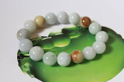 Certified Natural Jade Grade A Light Green Yellow Jadeite Bracelet 13mm #Br175 3