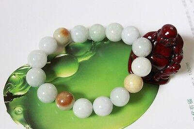 Certified Natural Jade Grade A Light Green Yellow Jadeite Bracelet 13mm #Br175 8