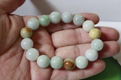Certified Natural Jade Grade A Light Green Yellow Jadeite Bracelet 13mm #Br175 5