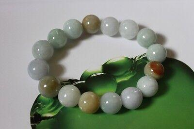Certified Natural Jade Grade A Light Green Yellow Jadeite Bracelet 13mm #Br175 2