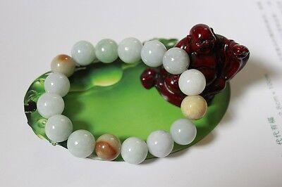 Certified Natural Jade Grade A Light Green Yellow Jadeite Bracelet 13mm #Br175 4