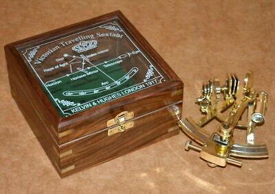 vintage brass nautical maritime sextant astrolab ship instrument w/ wooden box 4