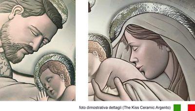 Quadro su tela Sacro Religioso Capezzale The Kiss Ceramic con Glitter | 3 misure 3