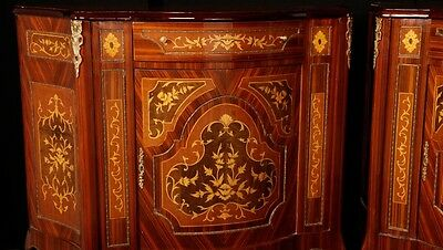 Pair French Empire Cabinets Chests Marquetry Inlay 5