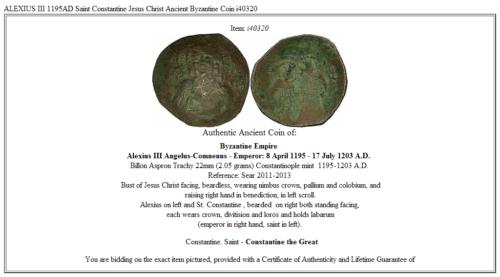 ALEXIUS III 1195AD Saint Constantine Jesus Christ Ancient Byzantine Coin i40320 3