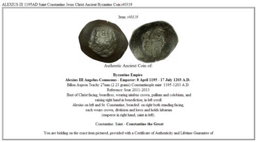 ALEXIUS III 1195AD Saint Constantine Jesus Christ Ancient Byzantine Coin i40319 3