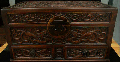 """16"""" China old Huang Huali Wood carving Dragon Beast Storage Jewelry Box Statue 3"""