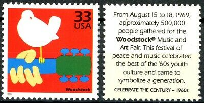 WOODSTOCK 3 Days of Peace & Music Scarce MNH Stamp from 1999 Scott's 3188b 2