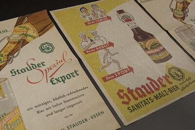 3 x Einwickelpapier BRAUEREI STAUDER ESSEN um 1955 2