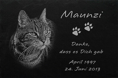 TIERGRABSTEIN Grabstein Grabplatte Katzen Katze-007 ► Fotogravur ◄ 30 x 20 cm