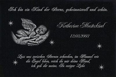 Sternenkind Grabtafel Grabplatte Grabstein-027 ► LASER-Wunschgravur ◄ 50 x 30 cm