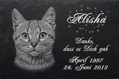 GRABSTEIN Tiergrabstein Gedenkstein Katzen Katze-018 ► Fotogravur ◄ 20 x 15 cm