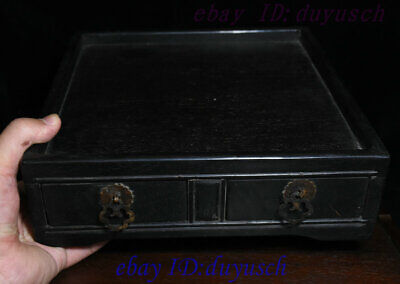 """10"""" Old Chinese Rosewood Wood handcrafted Two drawer small square tables Statue 10"""