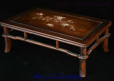 "21"" Chinese Huanghuali Wood Inlay shell Bird flowers Furniture table Desk Tables 6"