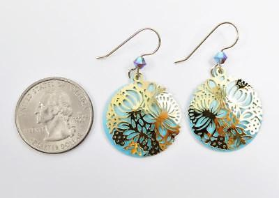 Adajio Earrings Shiny Gold Plated Floral Filigree on Blue Disc Handmade USA 7911 4