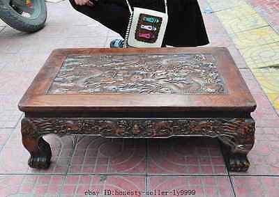 old chinese huanghuali wood carved dragon beast foo dog lion desk Tea table A 11