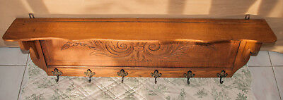 Old French Carved Solid Oak Coat Hat Rack Cherubs Angel Hooks wall shelf Kitchen 2