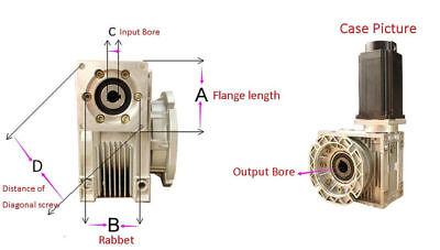 1PC NMRV-030 Worm Gear Speed Reducer NEMA23 Ratio 10 20 30 40 50 60 80:1 57*57mm 3