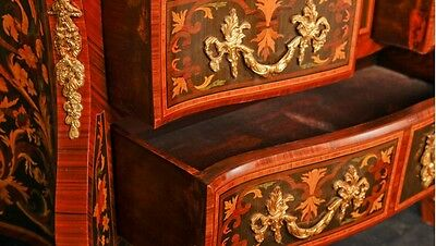 Pair French Empire Cabinets Commodes Chests on Stands Inlay 10