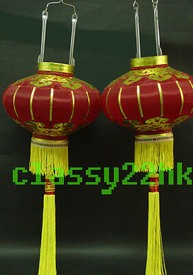 Pair of 2 pcs 9 in Dia Chinese Red Silk Lantern for New Year Festival celebrate