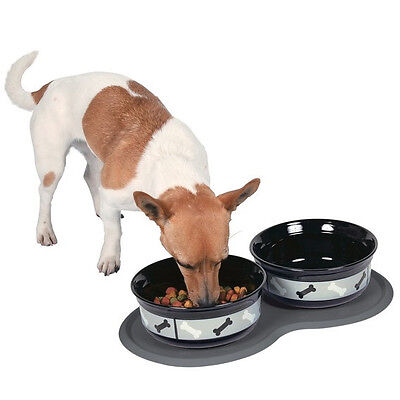 Place mat for food bowls, natural rubber, 45 × 25 cm, dark grey 2