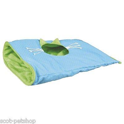 Small Cat & Kitten Play Bag Crackle Sack Light Blue / Green