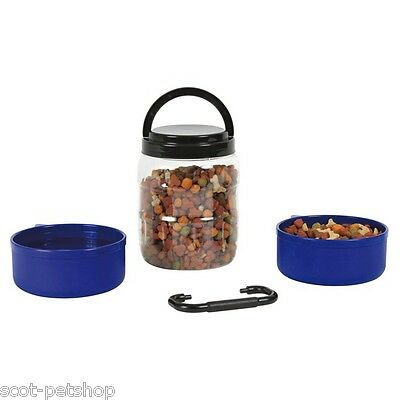 Dog Cat Pet Travel Set Plastic Two Bowls & Food Box