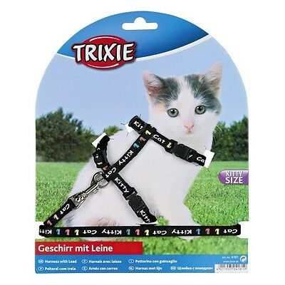 Kitten harness and lead, various colours. snap buckles, kitty cat motif(4181) 4